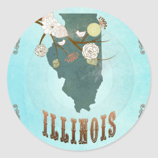 Illinois Map With Lovely Birds Round Sticker