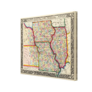 Illinois, Missouri, Iowa, Nebraska And Kansas Canvas Print