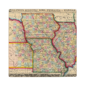 Illinois, Missouri, Iowa, Nebraska And Kansas Maple Wood Coaster