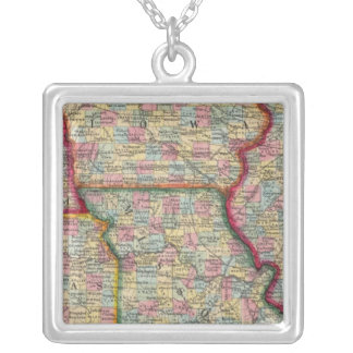 Illinois, Missouri, Iowa, Nebraska And Kansas Silver Plated Necklace