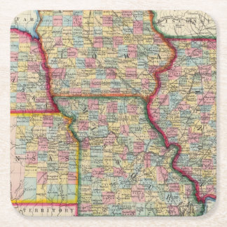 Illinois, Missouri, Iowa, Nebraska And Kansas Square Paper Coaster