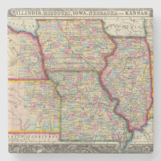 Illinois, Missouri, Iowa, Nebraska And Kansas Stone Coaster