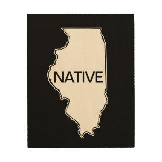 Illinois Native Black White Wood Print