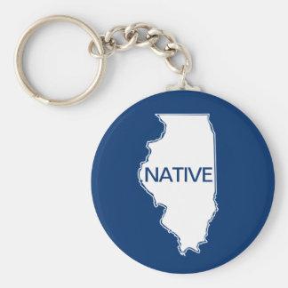 Illinois Native Blue White Key Ring