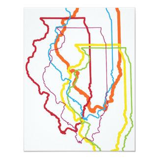 illinois pride blur 11 cm x 14 cm invitation card