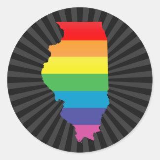 illinois pride. round sticker