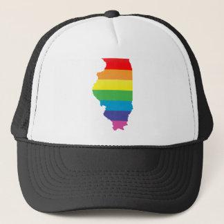 illinois pride. striped. trucker hat