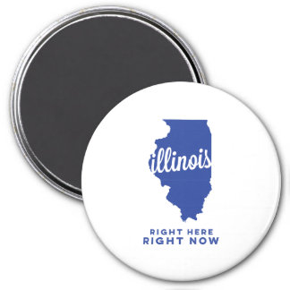 illinois | right here, right now | blue 7.5 cm round magnet