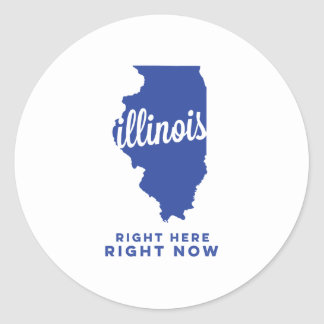 illinois | right here, right now | blue round sticker