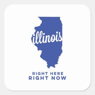 illinois | right here, right now | blue square sticker