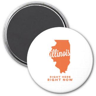 illinois | right here, right now | orange 7.5 cm round magnet
