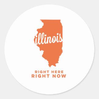 illinois | right here, right now | orange round sticker