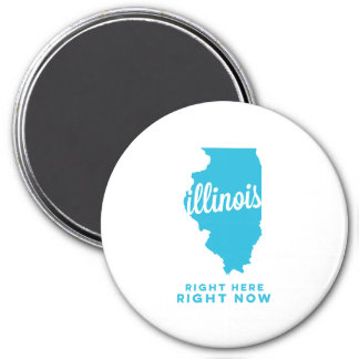 illinois | right here, right now | sky blue 7.5 cm round magnet