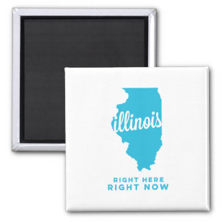 illinois | right here, right now | sky blue square magnet