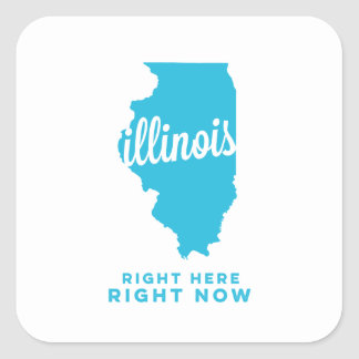 illinois | right here, right now | sky blue square sticker