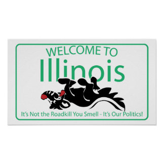 Illinois Road Sign Poster