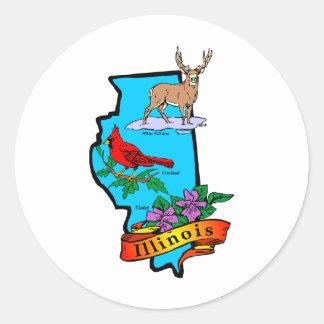 Illinois Round Sticker