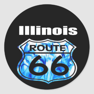 Illinois Route 66 Round Sticker