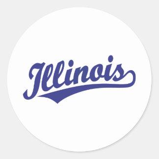 Illinois script logo in blue round sticker