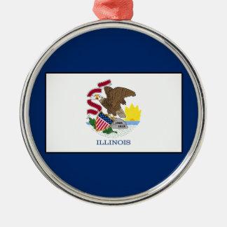 Illinois Silver-Colored Round Decoration