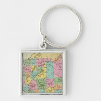 Illinois Silver-Colored Square Key Ring