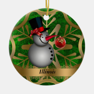 Illinois State Christmas Ornament
