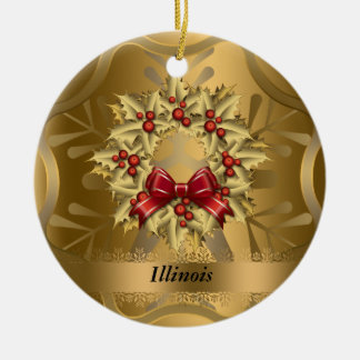 Illinois State Christmas Ornament