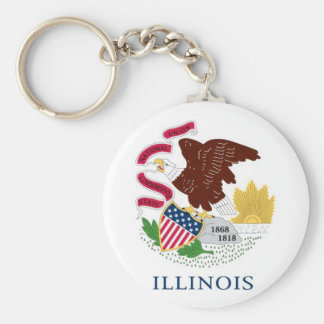 Illinois State Flag Basic Round Button Key Ring