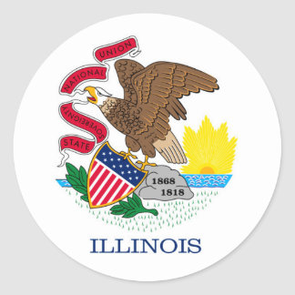 Illinois State Flag Design Round Sticker