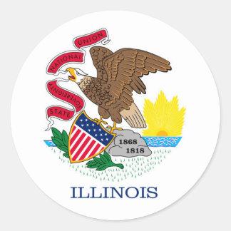 Illinois State Flag Design Round Sticker