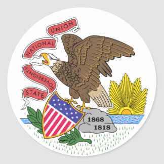 Illinois State Flag Round Sticker
