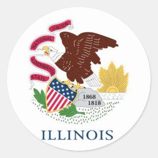 Illinois State Flag Round Sticker