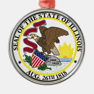 Illinois state flag usa united america symbol seal Silver-Colored round decoration