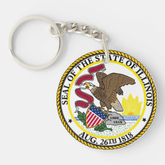 Illinois state flag usa united america symbol seal Single-Sided round acrylic key ring