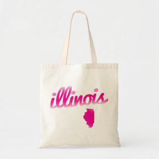 Illinois state in pink tote bag