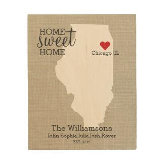Illinois State Map Custom Family Name Established Wood Wall Art