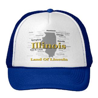 Illinois State Pride Map Silhouette Hats