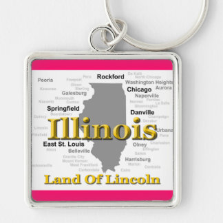 Illinois State Pride Map Silhouette Keychains