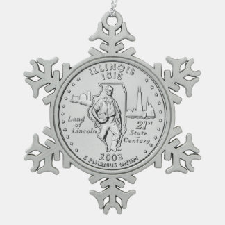 Illinois State Quarter Snowflake Pewter Christmas Ornament