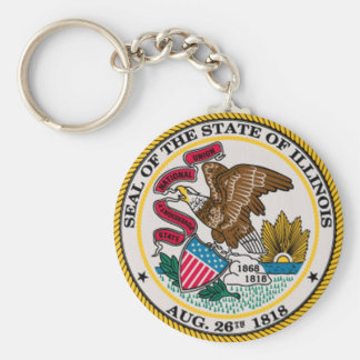 Illinois State Seal Basic Round Button Key Ring