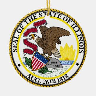 Illinois State Seal Round Ceramic Decoration