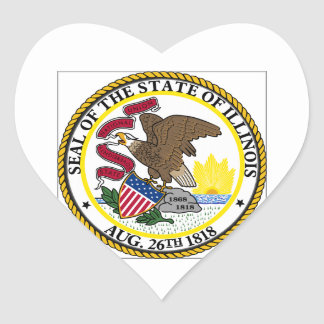 Illinois State Seal Heart Stickers