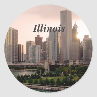 Illinois Round Stickers