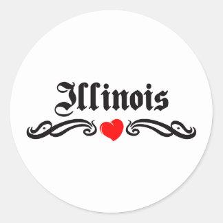 Illinois Tattoo Round Sticker