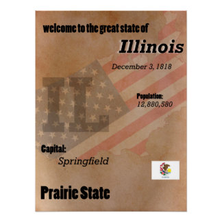 Illinois The Prairie State Classic Poster