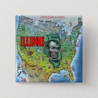 Illinois USA Map 15 Cm Square Badge