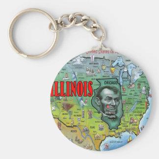 Illinois USA Map Basic Round Button Key Ring