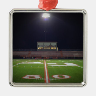 Illuminated American football field at night Christmas Ornament