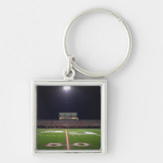 Illuminated American football field at night Silver-Colored Square Key Ring