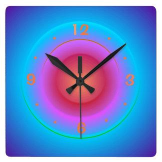 Illuminated Blue Aqua Orange Pink Rings>Wallclock Wallclock